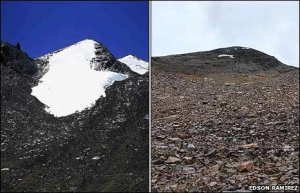 The Chacaltaya glacier in 1996 (left) and today