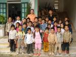 Teaching Assistant arrives with 12 students.Ha Giang Province